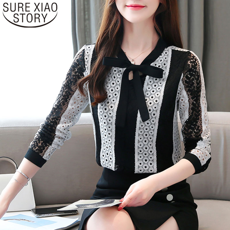 Blusas Mujer De Moda 2019 Autumn Fashion Women Lace Blouses Long Sleeve Bow Women Tops Casual Korean Fashion Clothing 6383 50
