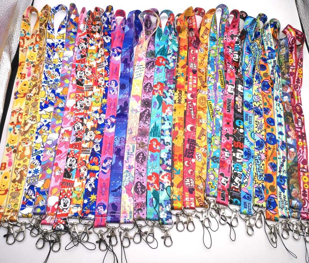 1 pcs cartoon mickey minnie prinses stitch Donald Duck Daisy Lanyard Sleutel Lanyard Cosplay Badge ID Kaarten Houders Nek
