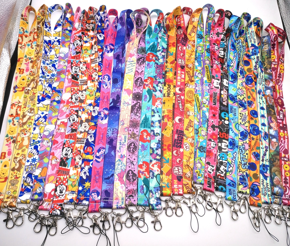 1 Pcs Cartoon  Mickey Minnie Princess Stitch Donald Duck Daisy Lanyard Key Lanyard Cosplay Badge ID Cards Holders Neck