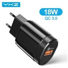YKZ – chargeur USB rapide 3.0 pour téléphone portable, 18W, prise murale ue, adaptateur QC3.0, pour iPhone, Samsung, Huawei, Xiaomi, HTC