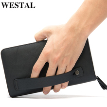 WESTAL Men's Wallet Genuine Leather Clutch Male Men's Clutch Bag Double Zip Wallet Leather Men Long Wallets Purse Money Bag 9069