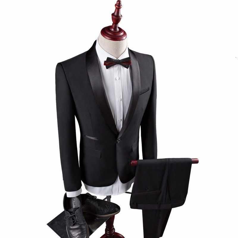 جديد رجل بدل زفاف العريس 2020 سليم صالح ذكر البدلة الرسمية أسود فاخر رجل البدلة أحدث معطف بانت تصاميم زي أوم Mariage