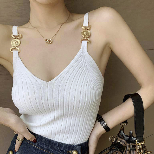 V-neck Halter Sexy Camisole Top 2020 Summer Women Sexy off-Shoulder Solid Color Sleeveless Camis Women's Clothing Tanks Tops 1