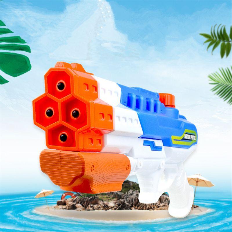 Water Water Gun Soaker 4 Nozzles Water Blaster 1200CC Squirt Gun 30ft Water Pistol Water Fight Summer Toys Outdoor Swimming Pool