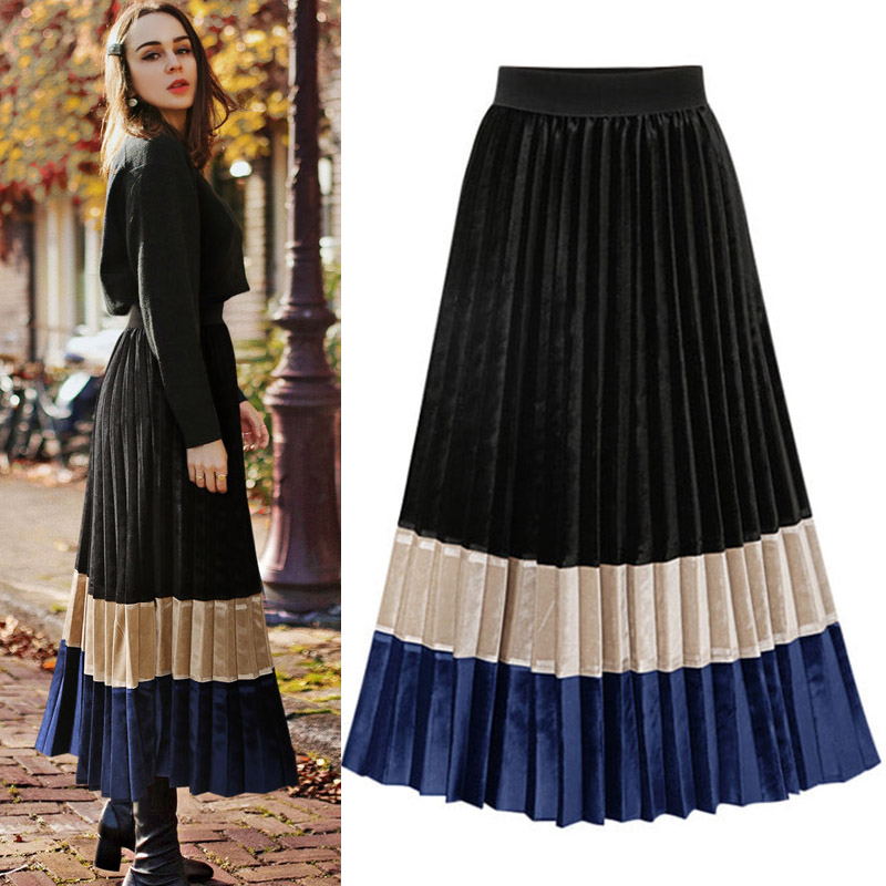 NEW Pleated Skirt Velvet Autumn Winter Skirt Vintage Skirt Bottom Midi Long Skirt Color Block Elegant Office Streetwear JET-1