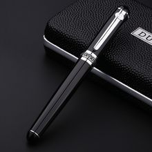 Duke D2 Luxury Smooth Black and Silver Clip Rollerball Pen with Original Gift Case 0.7mm Ballpoint Pens Office Gift Supplies