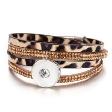 New Snap Button Jewelry Bracelet 18mm Leather Wrap Multilayer Bohemian Leopard