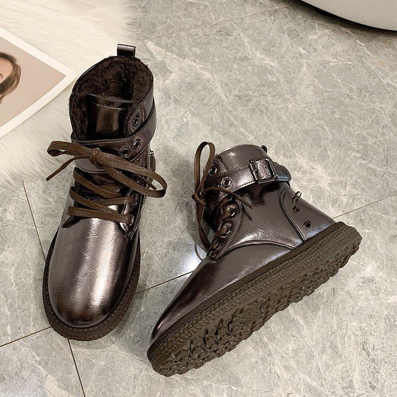 2020 Winter Women Warm Ankle Boots  Platform Shoes Fashion Black Plush Short Boots Women Silver Warm fur Snow Boots