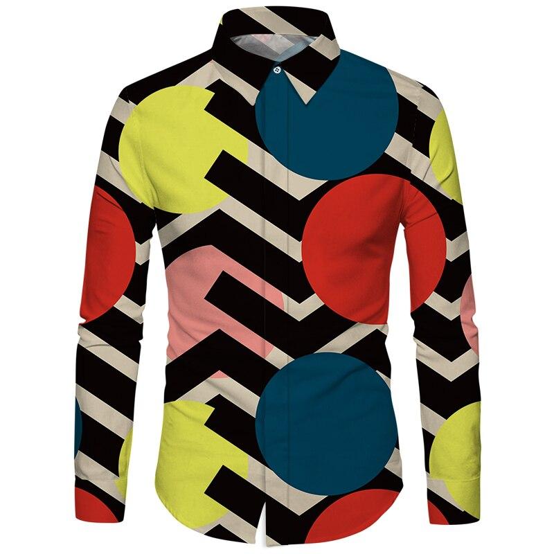 Cloudstyle Own Design Men Shirts Long Sleeve 3D Full Print Clothes Fall Winter Shirt Men Dress Fashion Slim Fit Streetwear