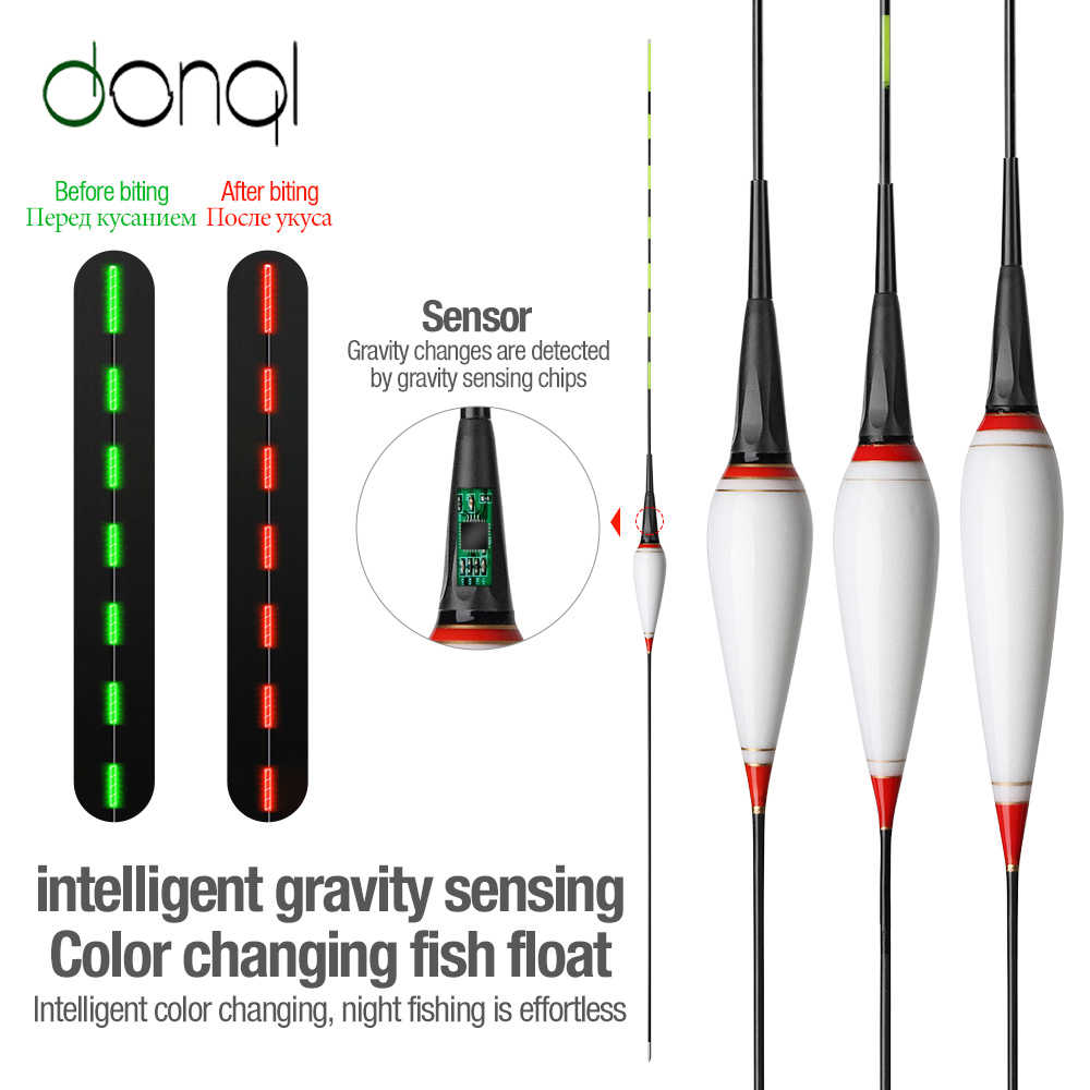 DONQL Nano Smart Led ตกปลาตกปลาเซ็นเซอร์แรงโน้มถ่วงปลากัดเตือน Buoy เรืองแสงไฟฟ้าตกปลาตกปลาลอยด้วยแบตเตอรี่