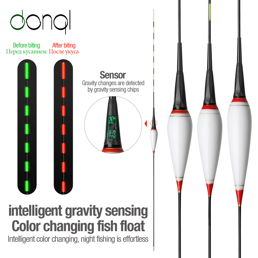 DONQL Nano Smart Led Fishing Float Gravity Sensor Fish Bite Remind Buoy Glowing Electric Night Fishing Float With Batteries