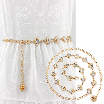 The wedding dress decorates the waist chain the lady fine sweet rhinestone inlays the belt printio the sweet