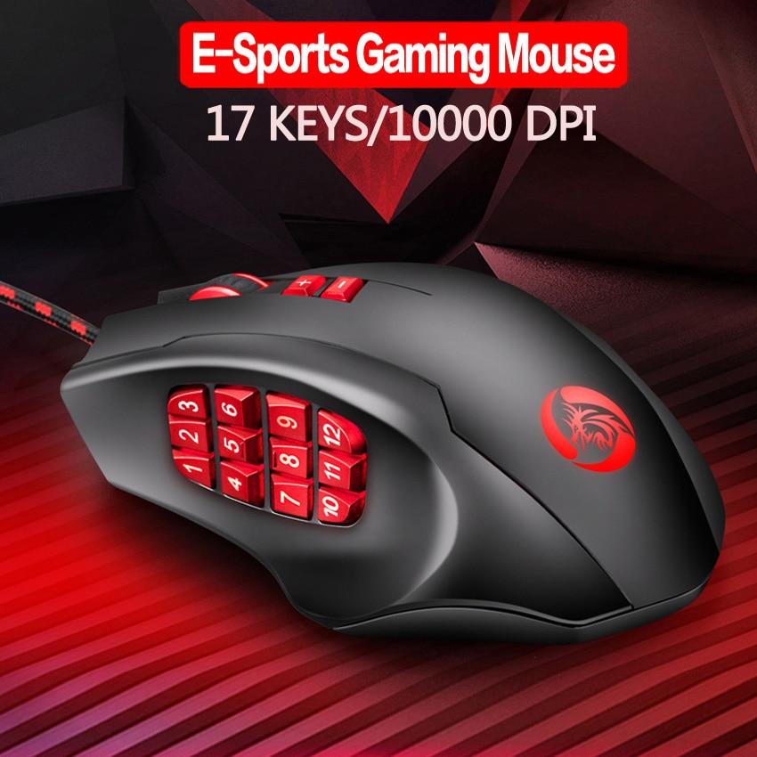 17 кнопок E-sport игровая мышь 10000 DPI, регулируемая программируемая мышь RGB MMO, игровая мышь с 12 кнопками большого пальца, мышь с цифрами