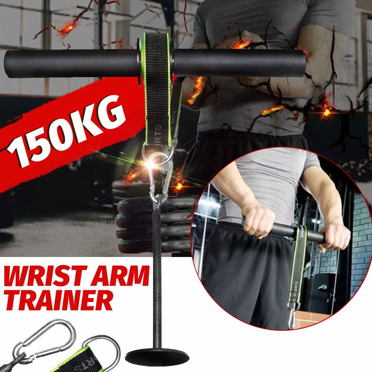 Forearm Strength Trainer Wrist Hand Grip Hand Strength Exerciser Weight Lifting Rope Waist Roller Equipment Gym Fitness Workout image