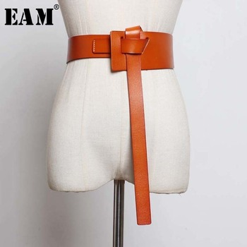 [EAM] Long Knotted Stylish Asymmetric Cross Pu Leather Belt Personality Women New Fashion Tide All-match Spring 2020 1U240