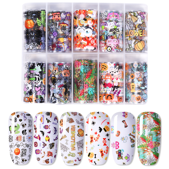 10 Rolls/Box Mixed Size Holographic Nail Foils
