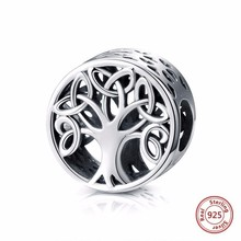 Hot Sale 100% Real 925 Sterling Silver Tree Of Life Beads Fit Original Pandora DIY Charm Bracelet fashion Jewelry free shipping