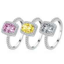 Модные ювелирные изделия в форме подушки дан Набор цветных бриллиантовых колец с желтым бриллиантом розовое кольцо романтические ювелирны...