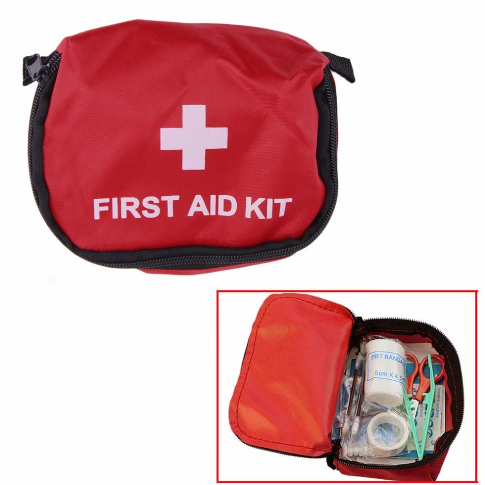 Emergency First Aid Kit 0.7L Red PVC Outdoors Camping  Survival Empty Bag Bandage Drug Waterproof Storage Bag 11*15.5*5cm