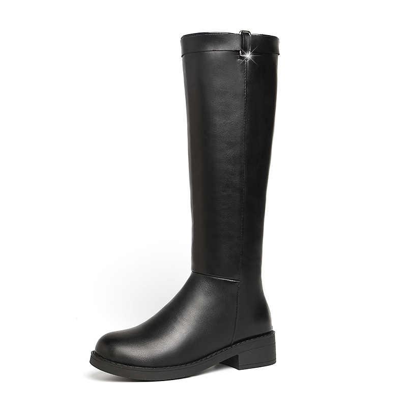 EOFK 2019 ฤดูหนาวคุณภาพสูงผู้หญิงสีดำอุ่นหนังกันน้ำแพลตฟอร์มผู้หญิงเลดี้สั้นขนสัตว์ Plush Boots