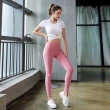 SVOKOR dikişsiz Yoga seti kadınlar kısa kollu tayt spor giyim spor üst spor egzersiz seti katı nefes spor