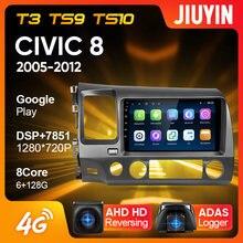 Tipo navegação do reprodutor de vídeo dos multimédios do rádio do carro de jiuyin para honda civic 8 fk fn fd 2005 - 2012 android nenhum 2din 2 din dvd