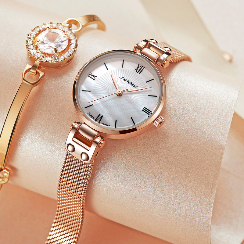 2019 New Arrival SINOBI Women Watches Simple Fashion Shell Dial Black Leather Gold Steel Mesh Strap Waterproof Watch Ladies Gift