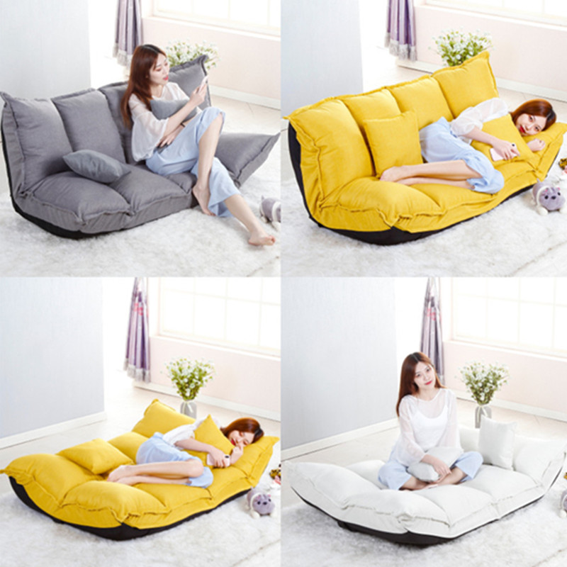 Floor Sofa Bed Position Adjustable Lazy Sofa With 2 Pillows Japanese Style Furniture Living Room Reclining Folding Sofa Couch