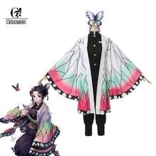 ROLECOS Demon Slayer Anime Cosplay Costume Kochou Shinobu Women Kimetsu no Yaiba for Halloween Outfit Butterfly