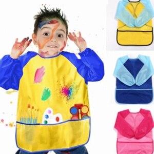 Nuevos bolsillos de delantales para hornear y comer para pincel de pintura para niños a prueba de agua arte artesanía delantal para niños DIY pintura dibujo