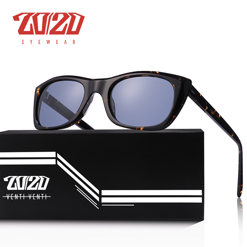 20/20 marca design polarizado óculos de sol retro gato olho acetato feminino óculos alta clareza uv400 proteção lente masculino at8156