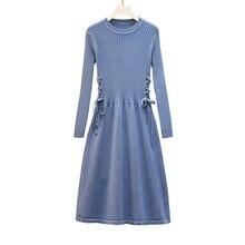 Трикотажное платье с длинным рукавом осенне зимние новые платья