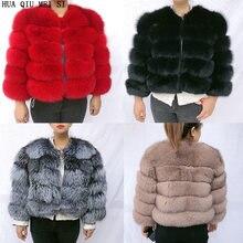 Женская зимняя куртка с натуральным мехом шуба из лисьего меха