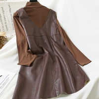 Mooirue Vintage Frauen 2 Stück Outfits Rollkragen Lange Hülse Dünnes Hemd Pu Lose Midi Kleid Koreanische Art Street 2 Stück set