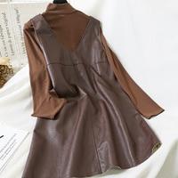 Mooirue Vintage Women 2 Piece Outfits Turtleneck Long Sleeve Slim Shirt Pu Loose Midi Dress Korean Style Streetwear 2 Piece Set