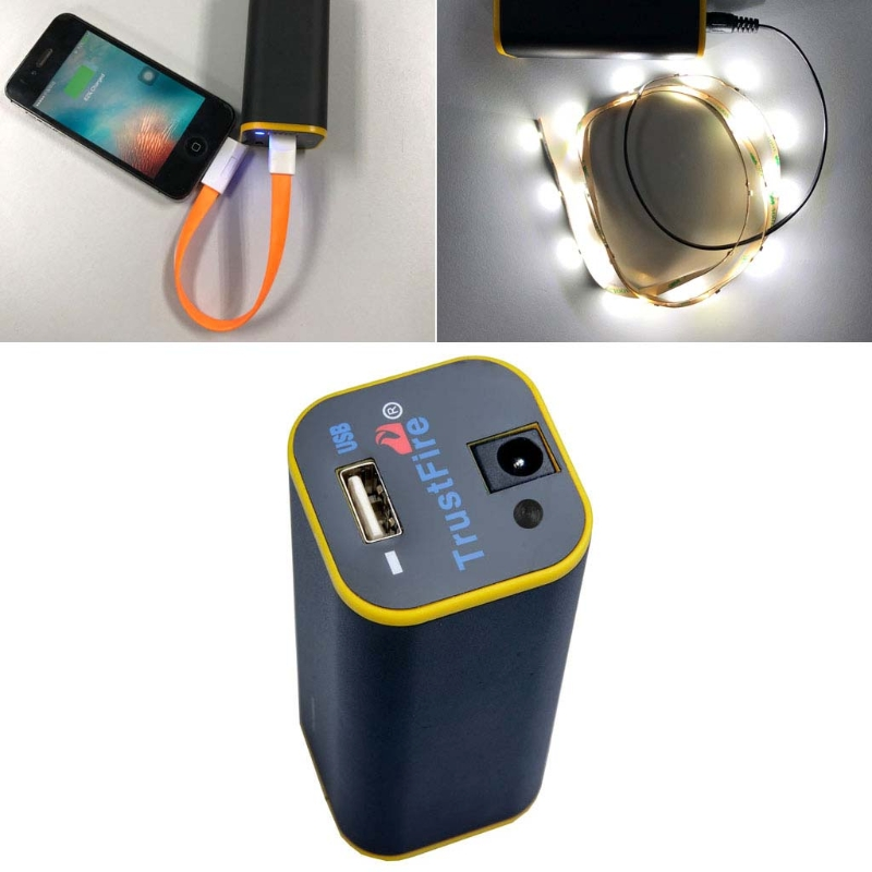 8.4V USB 5V 4x <font><b>18650</b></font> Battery Power Bank <font><b>Box</b></font> For <font><b>Bike</b></font> LED Light Cell Phone Tablet image