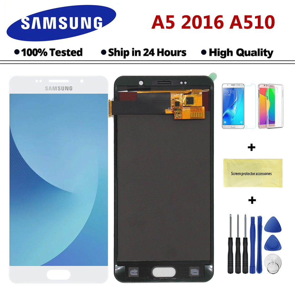 5.2'' LCD for Samsung A5 2016 LCD Display A510 A510F A510M SM-A510F Touch Screen Digitizer LCD For Samsung A5 A510 black/white(China)