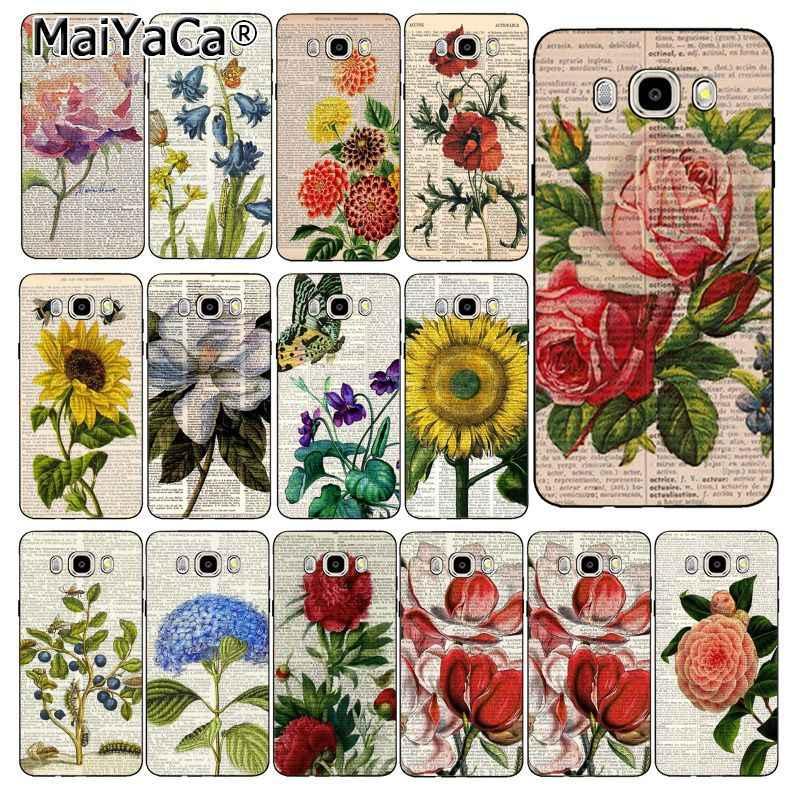MaiYaCa libro de arte Vintage de la floración de la caja del teléfono para Samsung Galaxy J7 J6 J8 J4 J4Plus J7 DUO J7NEO J2 J7 primer