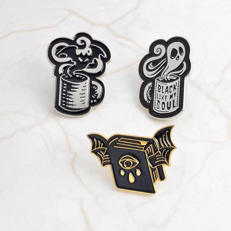 Magical Book Wings Coffee cup batty ghost Ghost Devil Enamel Pins Badge Denim Jeans Lapel Brooches Jewelry Gift for Women Men in Brooches from Jewelry Accessories
