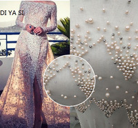 5Yard Ivory beaded lace fabric beads and sequins free shipping! 2019 NEW design Luxury wedding dress sewing lace nice! LR024