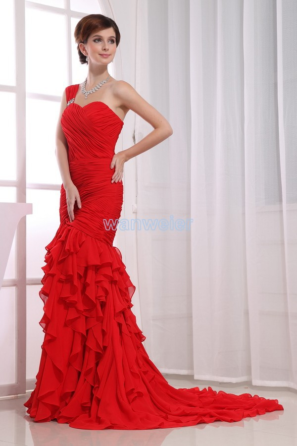 Free Shipping Formal Gown Vestidos De Festa 2018 Crystal Sexy Maxi Long Chiffon Red Mermaid Prom Bridesmaid Dress