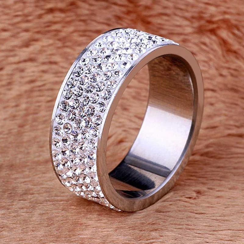 Unisex 5 wiersze kryształowy pierścień ze stali nierdzewnej kobiety na elegancki pełny palec miłość obrączki ślubne biżuteria mężczyzn pierścienie