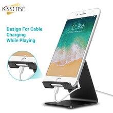 KISSCASE אלומיניום מתכת טלפון Stand מחזיק עבור iPhone XS Max XR XS X 8 7 6 לוח שולחן טלפון בעל stand עבור Smartphone תמיכה