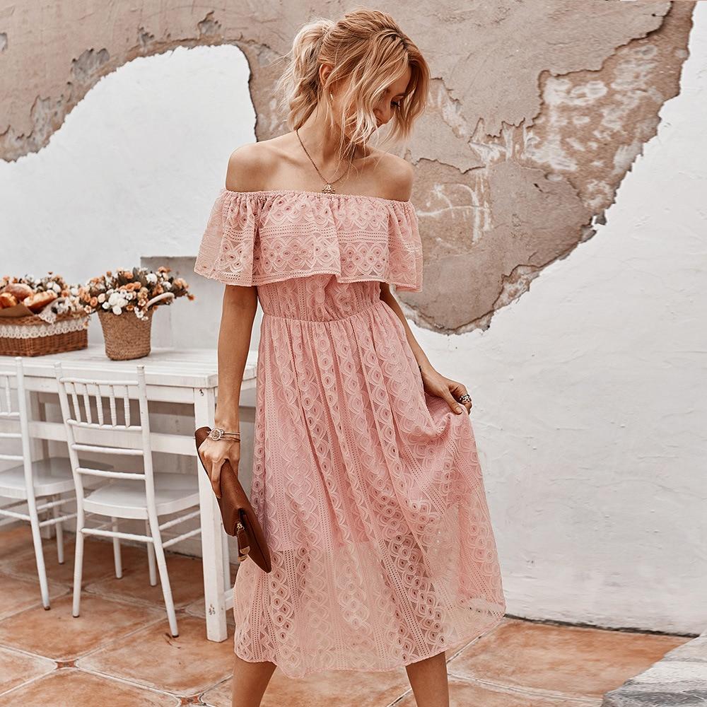 2021 New Ladies Elegant Summer Lace Off The Shoulder Dress Women Casual Slash Neck Solid High Waist Mid-calf Dress