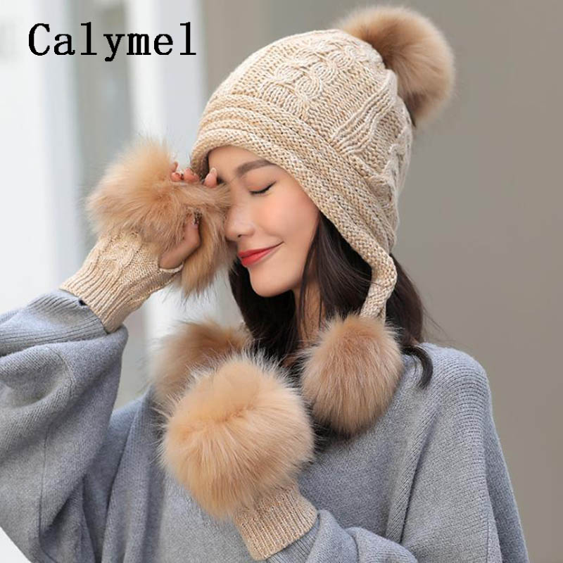 Calymel Fashion New Knitted Wool Hat Gloves Set Ladies Autumn And Winter Large Hairball Plus Velvet Thick Warm Set