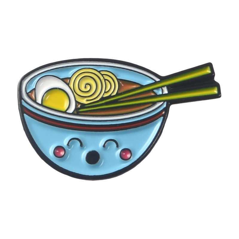 Exquisita moda creativa nuevo huevo japonés fideos tazón azul gota aceite broche denim insignia gorra mochila Ropa Accesorios regalo