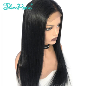 Image 4 - 150% Density Straight 360 Lace Frontal Human Hair Wigs For Black Women Brazilian Remy Hair Bleached Knots Pre Plucked SloveRosa