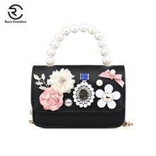 RARE CREATIVE New Elegant Beads Flowers Handbags Original Design PU Leather Women Bags Chain Luxury Travel Shoulder PS8001