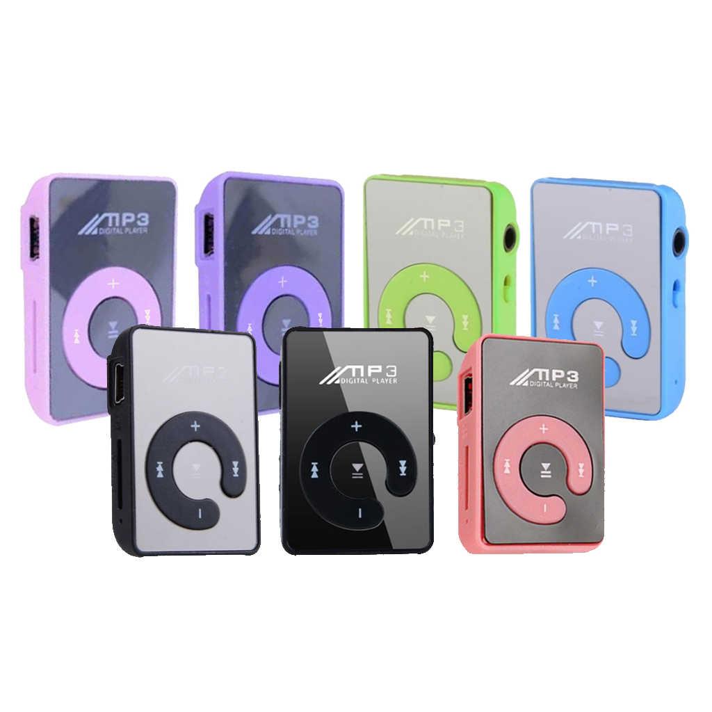 مشغل موسيقى صغير محمول على الموضة مشغل MP3 يدعم 8 جيجابايت بطاقة SD TF صغيرة رياضية مرآة محمولة مشغل موسيقى MP3 صغير