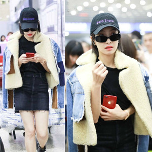 Image 4 - DEAT 2019 winter sheep fur turn down collar full sleeves denim blue patchwork spliced clothes letters printed coat trench WJ1020